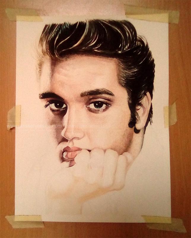 Elvis Presley - En cours de réalisation - Aquarelle