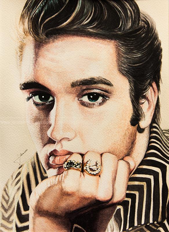 Portrait de Elvis Presley réalisé à l'Aquarelle