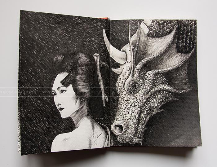 La femme aux dragons - Feutre - Carnet